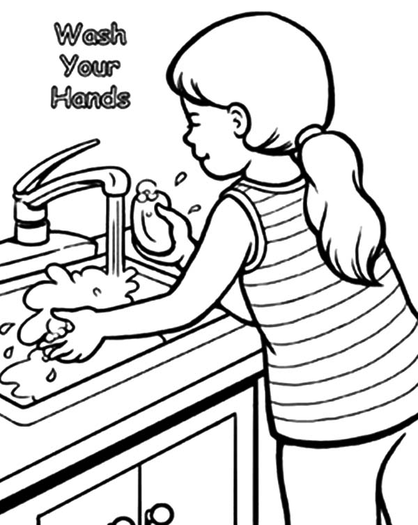 coloring pages hand washing - photo#15