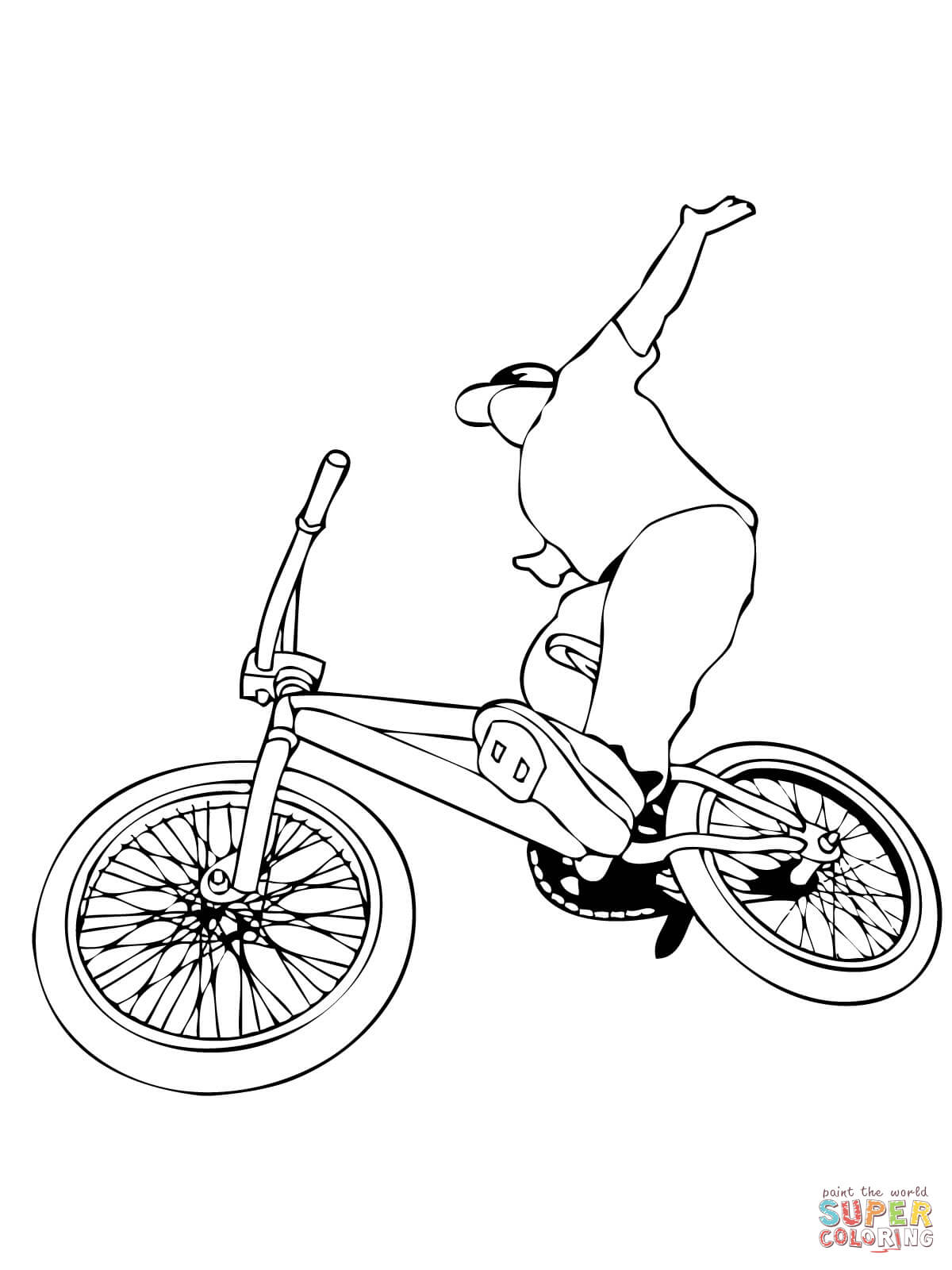 Uncategorized Bmx Coloring Pages riding bmx bike coloring page home page