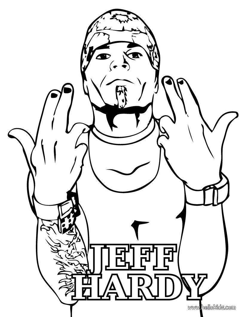 WRESTLING coloring pages - Wrestler Jeff Hardy