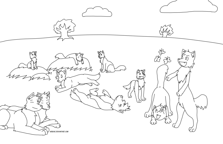 Anime Wolf Pack Coloring Pages