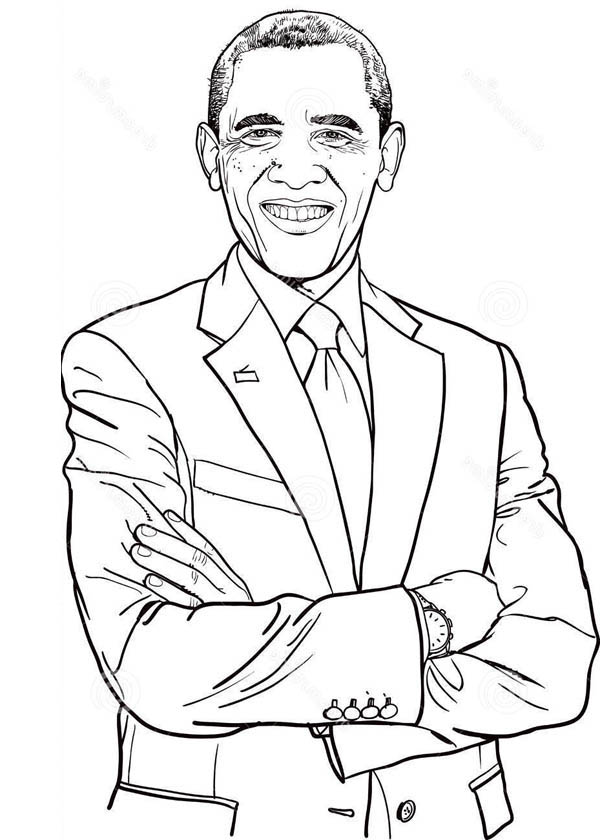 Dashing of Barack Obama Coloring Page | Kids Play Color
