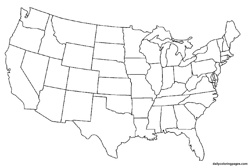 United States Coloring Pages Coloring Home - Blank map of usa 50 states