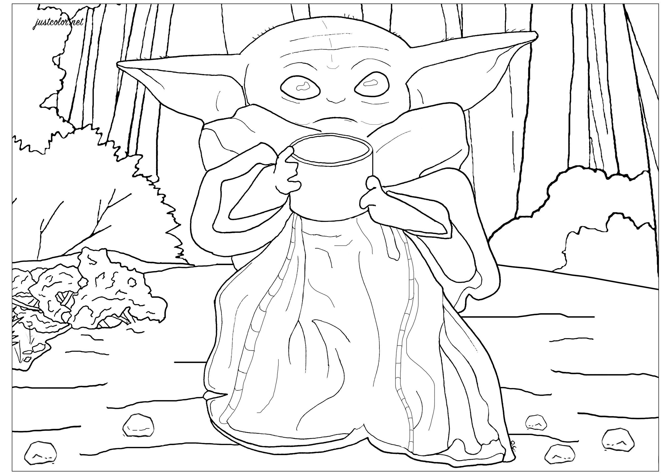 Baby Yoda The Child - Movies Adult Coloring Pages