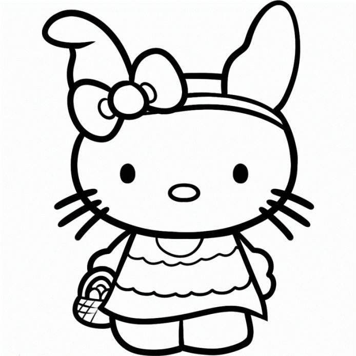 Hello Kitty Coloring Pages Easter  Coloring Home