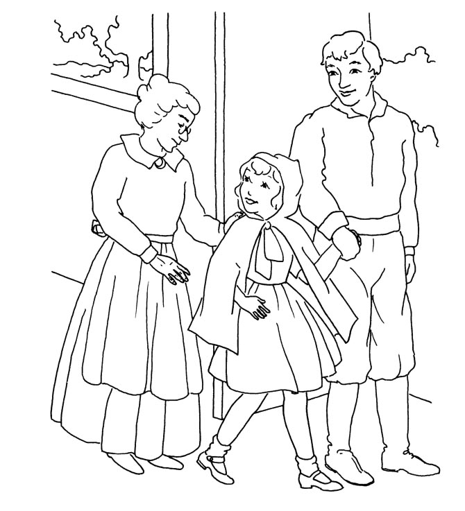 Riding Hood mom Colouring Pages