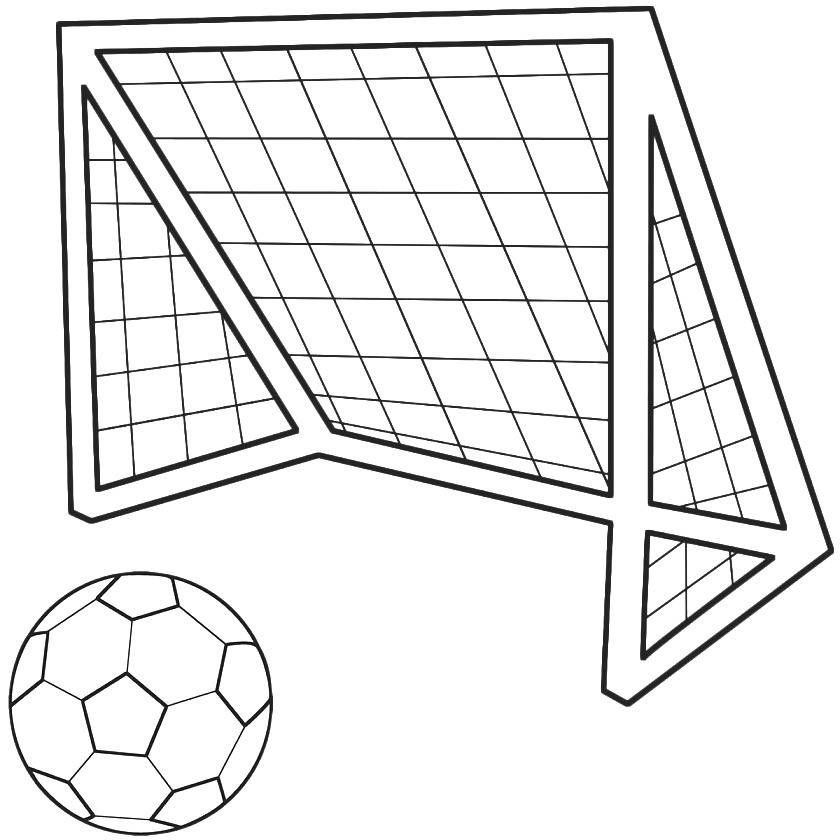Print Soccer Ball And Net Sports Coloring Pages or Download Soccer