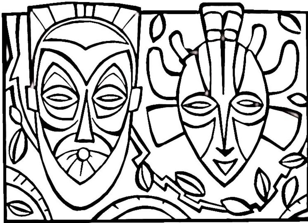 African Masks Drawings African Mask Coloring Pages
