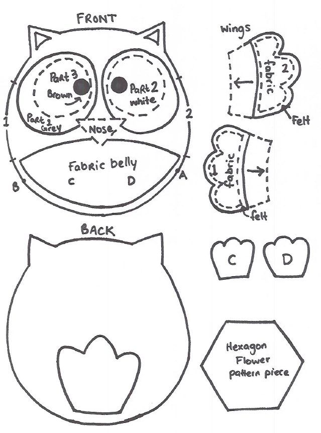 Owl cut out template coloring home for Owl templates for sewing