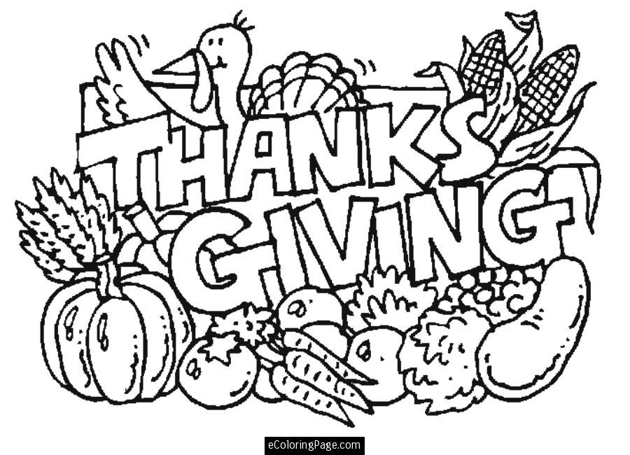 Turkey and Food Happy Thanksgiving Coloring Page for Kids