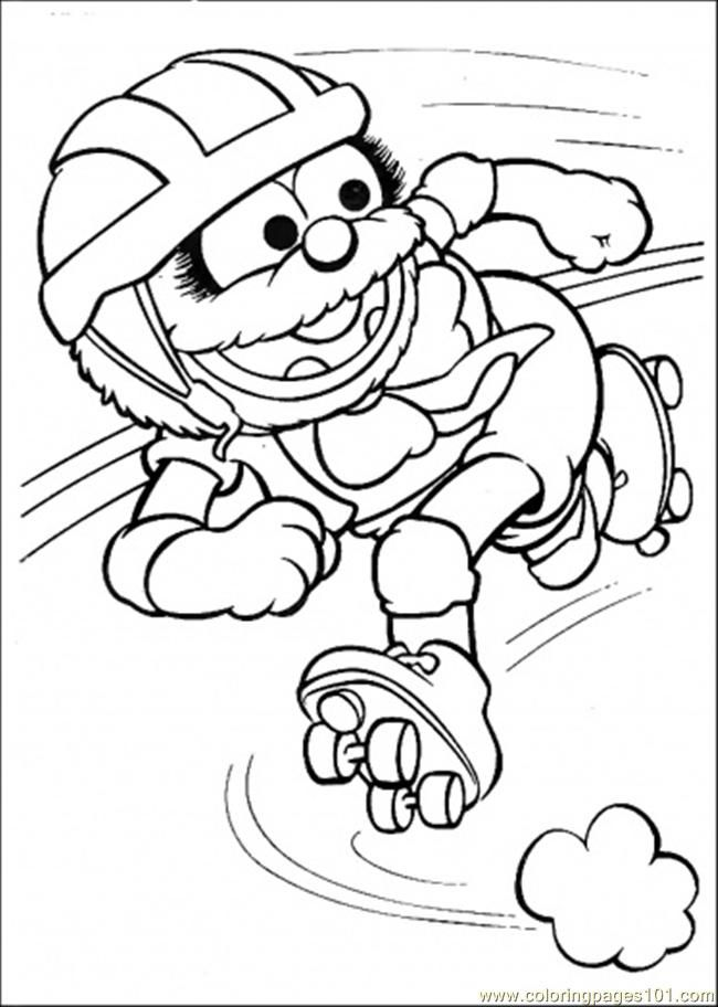 Coloring Pages Elmo Hits The Ball (Cartoons > Muppet Babies