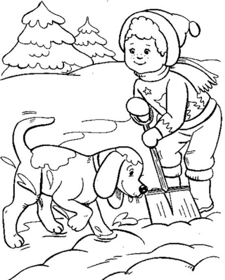Download Boy And Dog Playing Snow Winter Coloring Pages For Kids