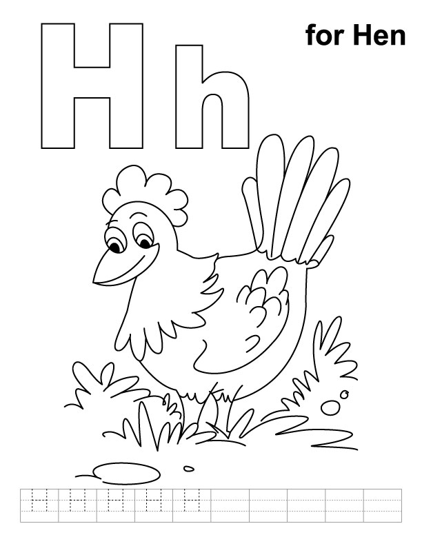 h is for hippo coloring pages - photo #20