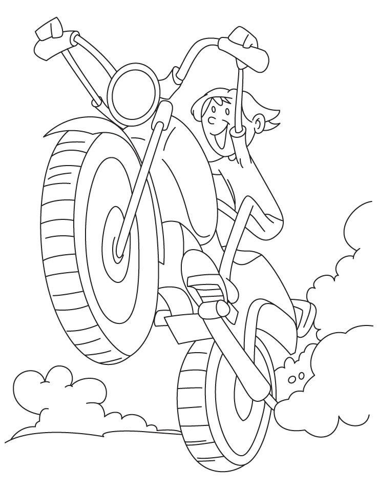 A Boy Driving Motorcycle Very Fast Coloring Page