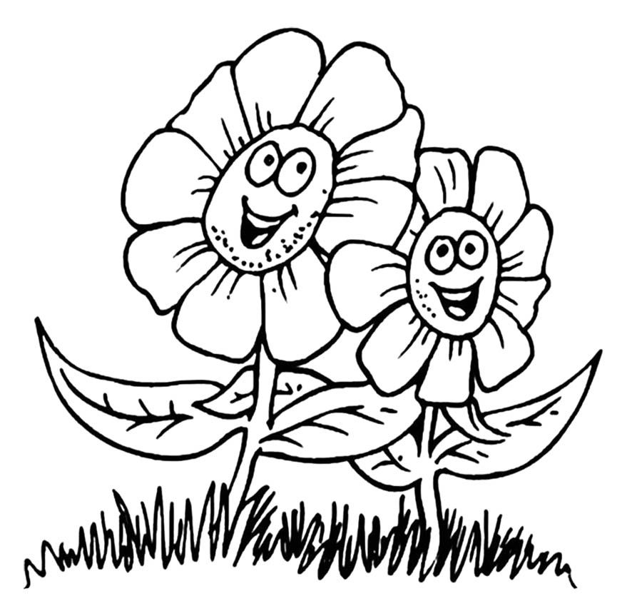 Happy Spring Flower Coloring Sheets For Kids - Spring Flower
