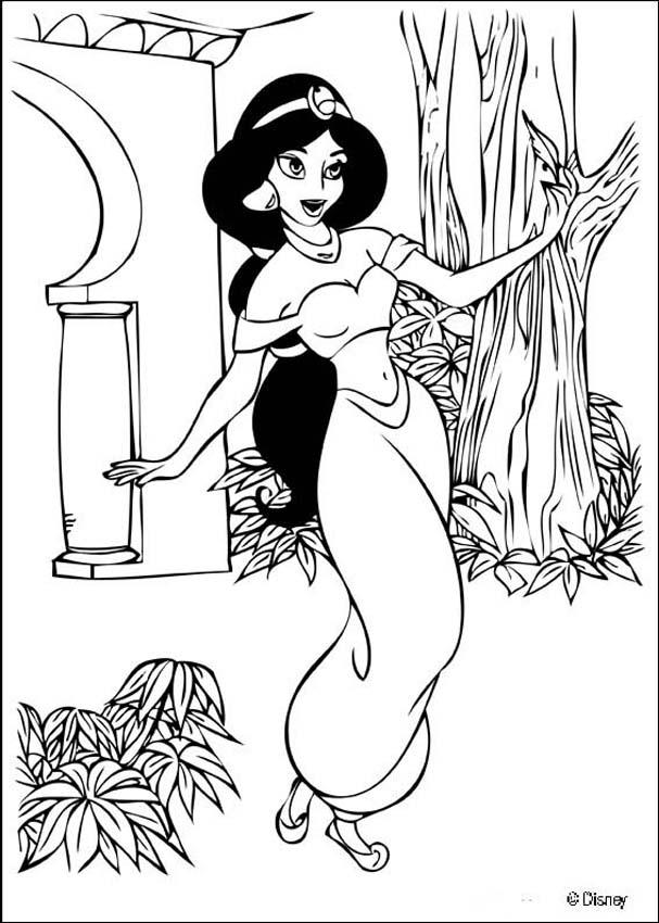 Aladdin coloring pages - Dancing princess Jasmine