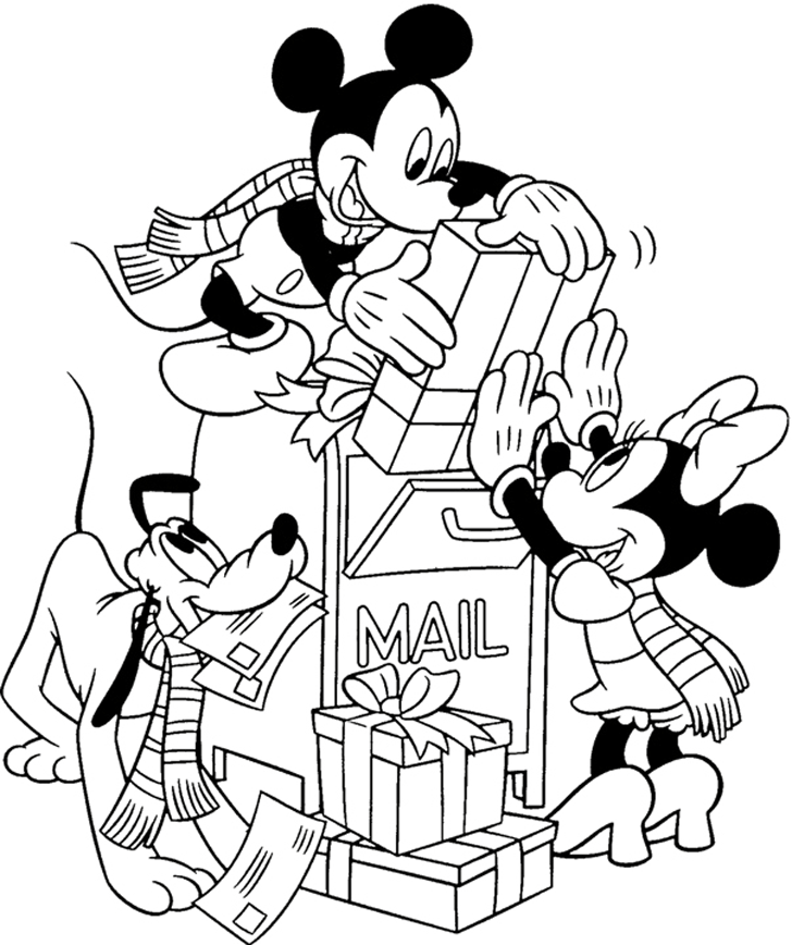 Free Disney Christmas Coloring Pages Kids