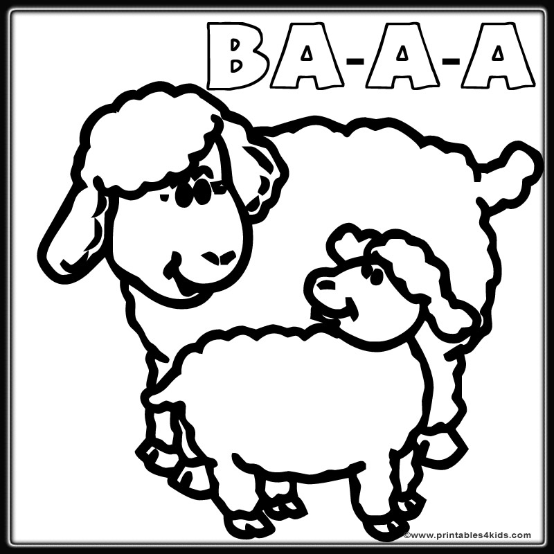 printable sheep coloring page - mother and baby sheep coloring page printables for kids