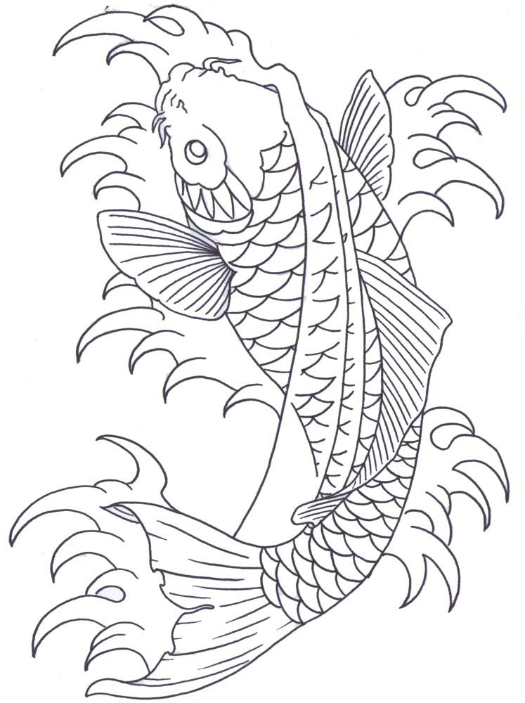 Koi Outline By IAmTheSorrow On DeviantART - Coloring Home