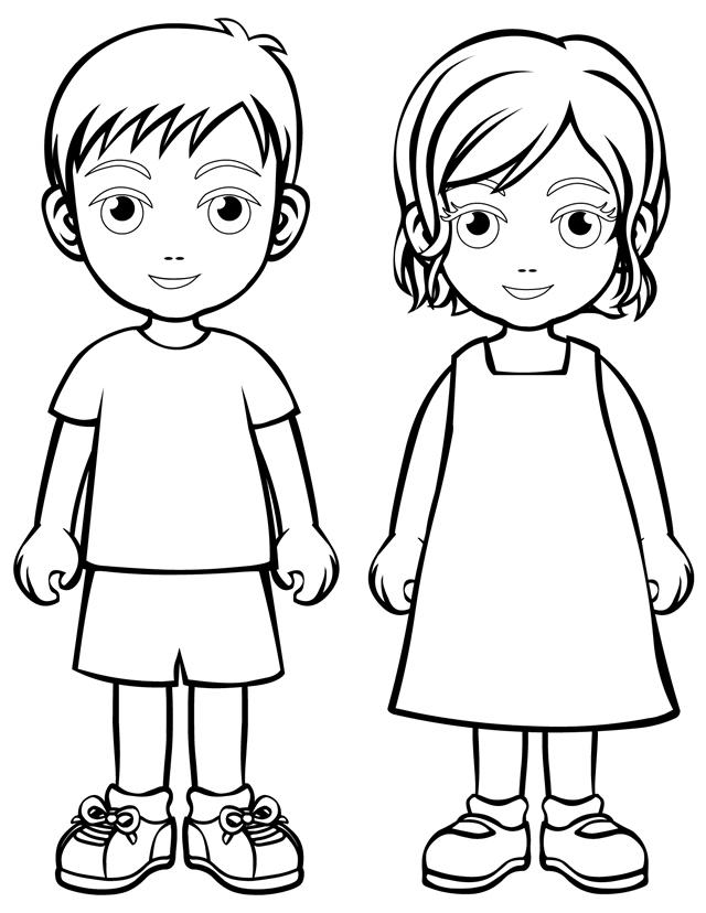 boys and girls wear Colouring Pages