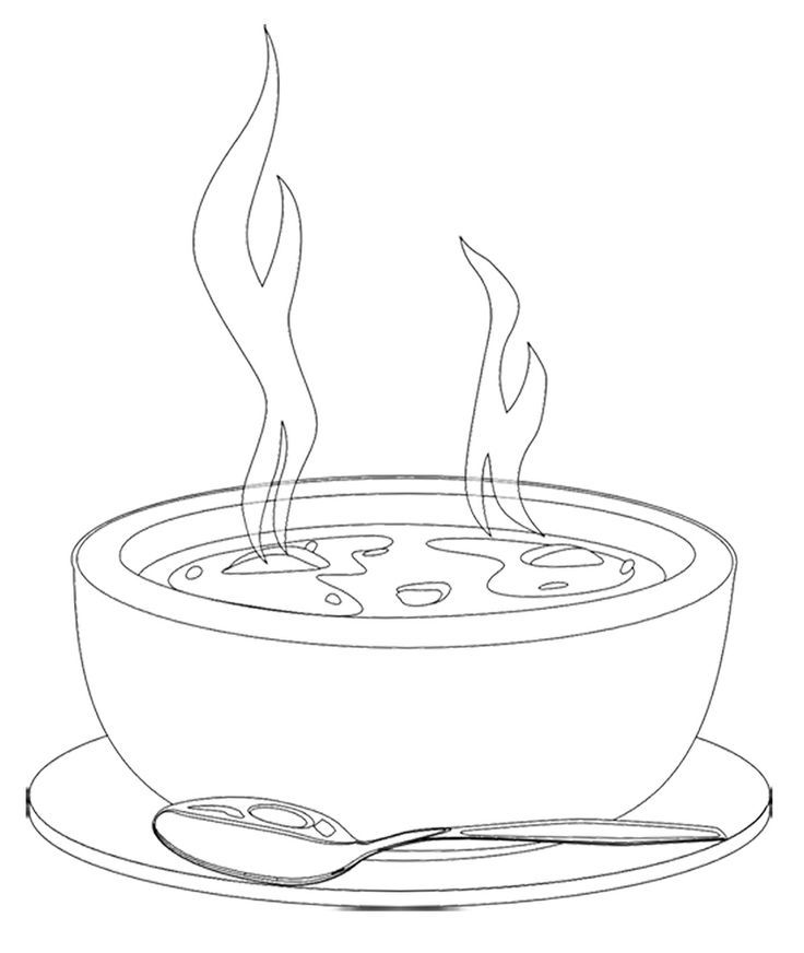 A Bowl Of Hot Soup Coloring For Kids | Kids Coloring Pages