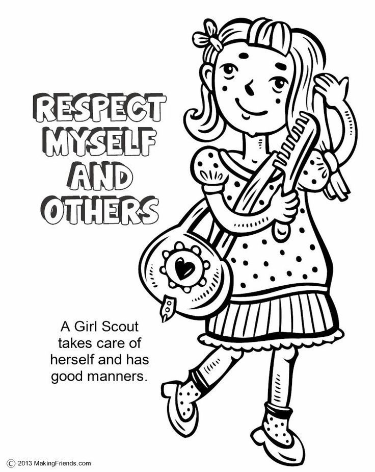 This is a photo of Magic Girl Scout Brownie Coloring Page