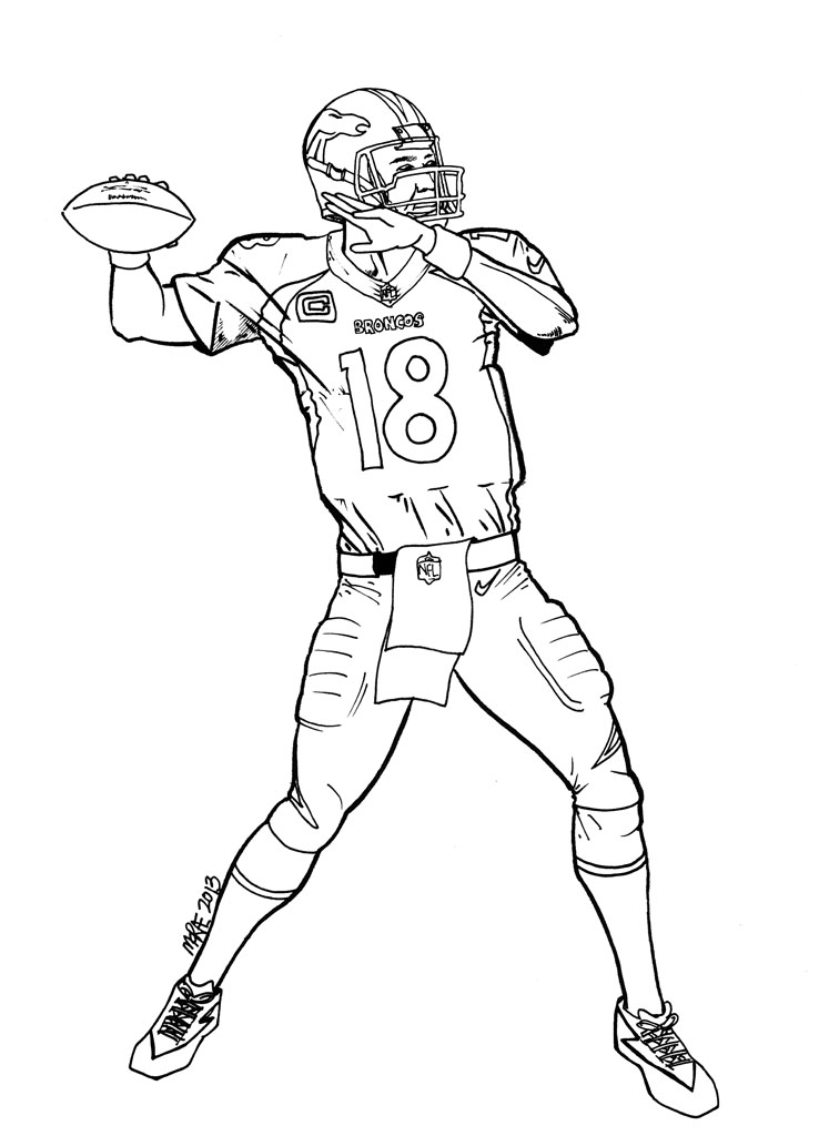 Peyton Manning Sheets Colouring Pages Coloring Home