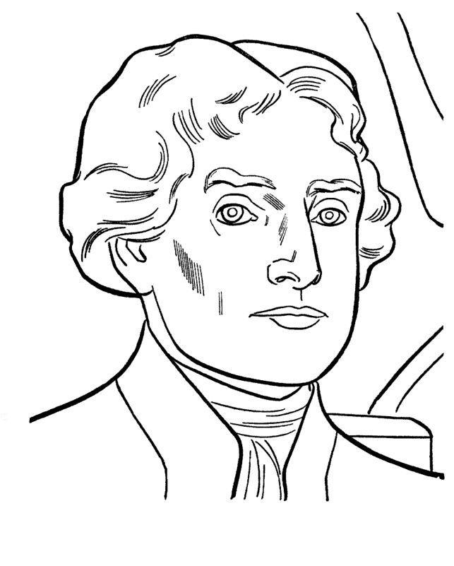 Printable Coloring Page Of Photo Of Thomas Jefferson ...
