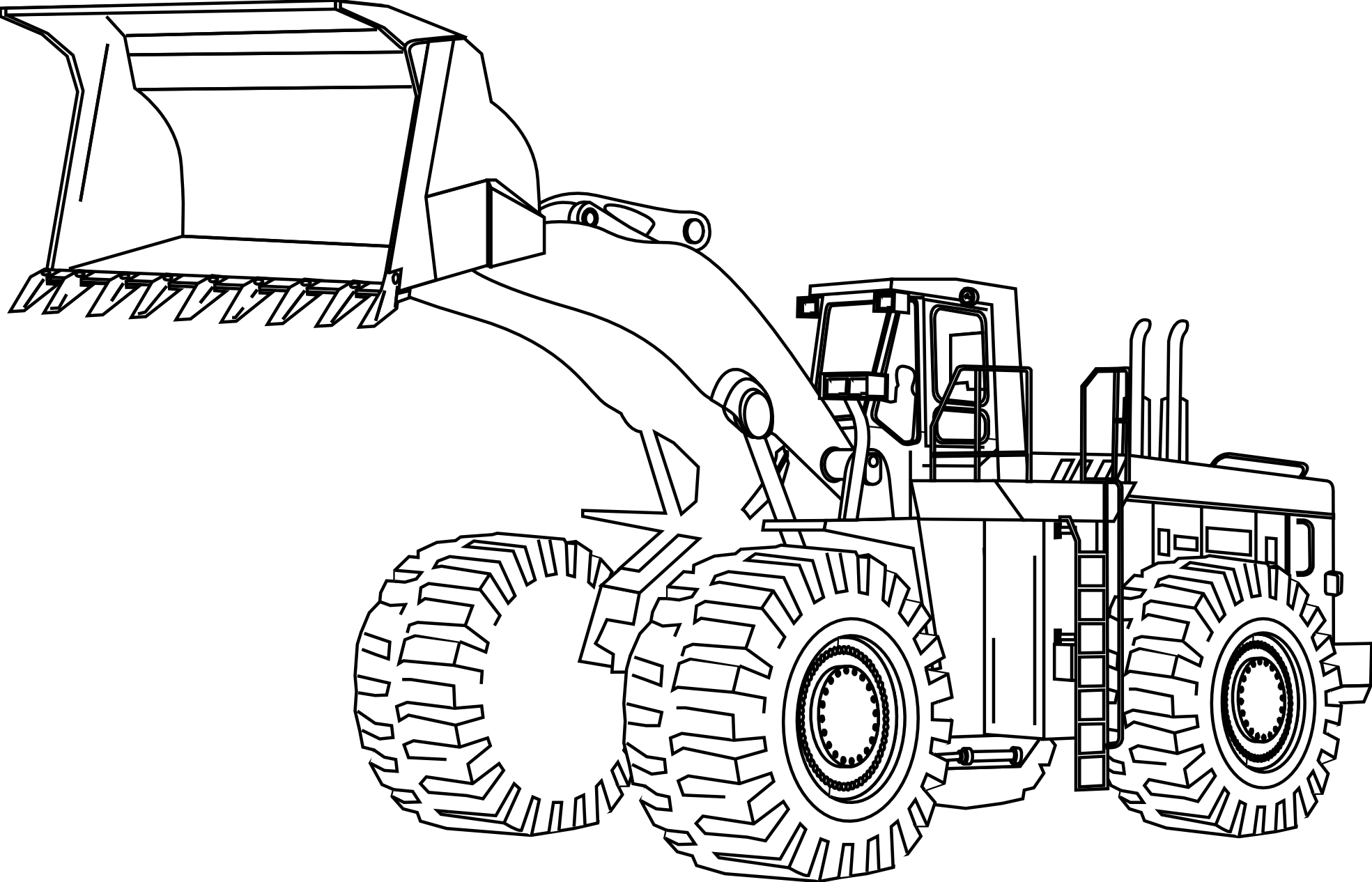 Cartoon of an Outlined Bobcat Skid Steer Loader - Royalty Free ... | 1266x1969