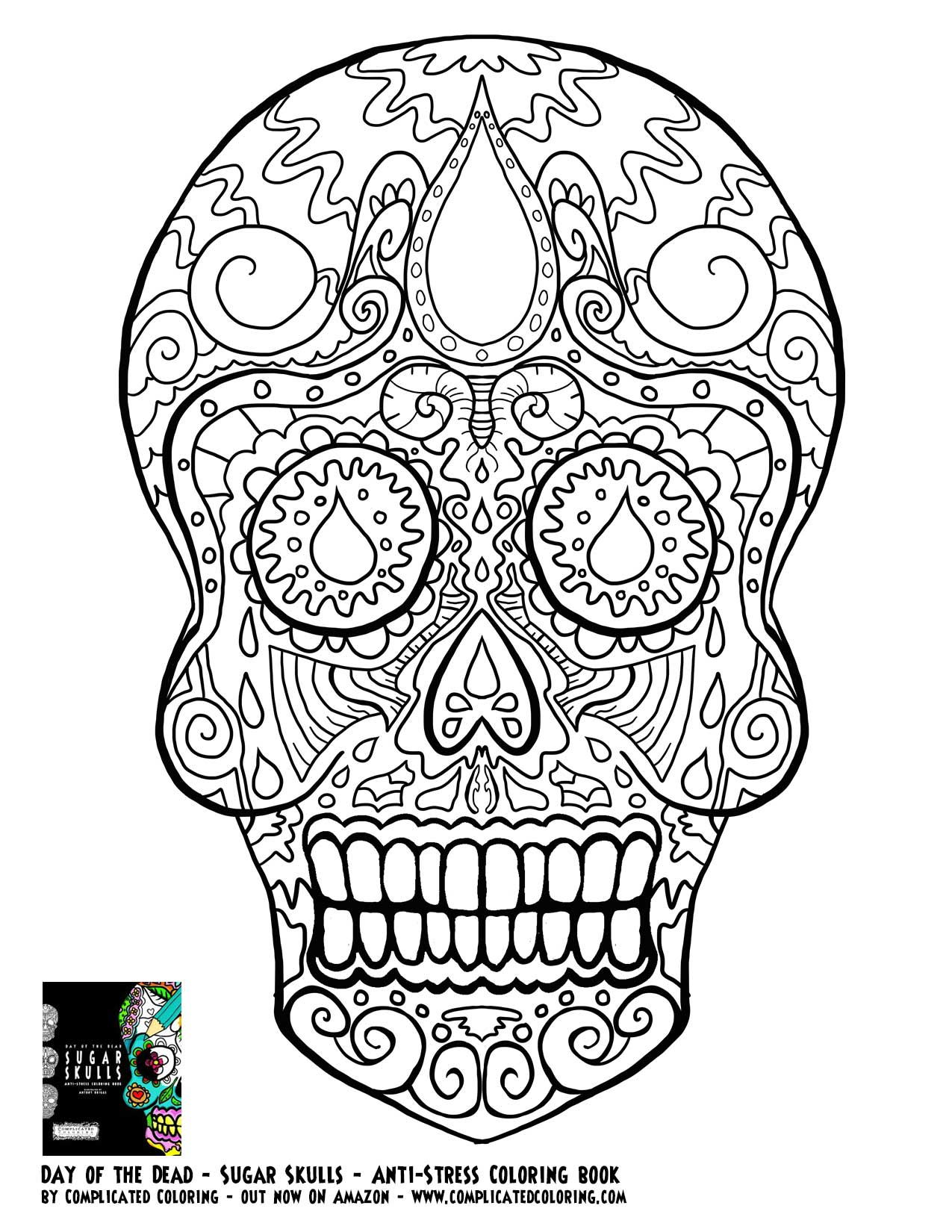 Free Adult Coloring Pages Sugar Skull - Coloring Home