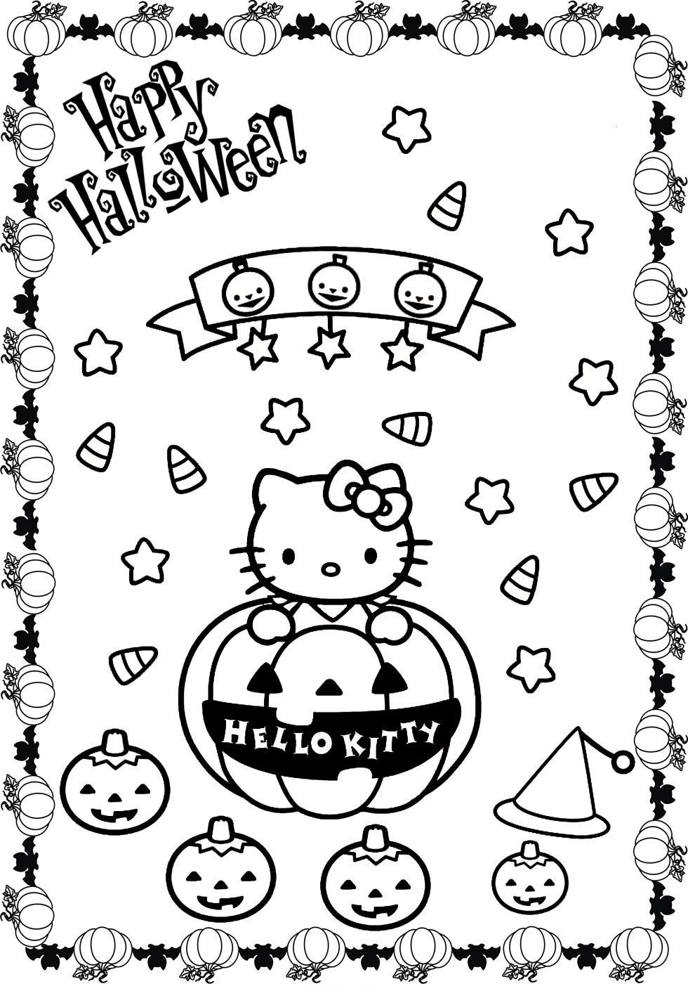 hello kitty halloween coloring page - coloring home - Cute Halloween Cat Coloring Pages