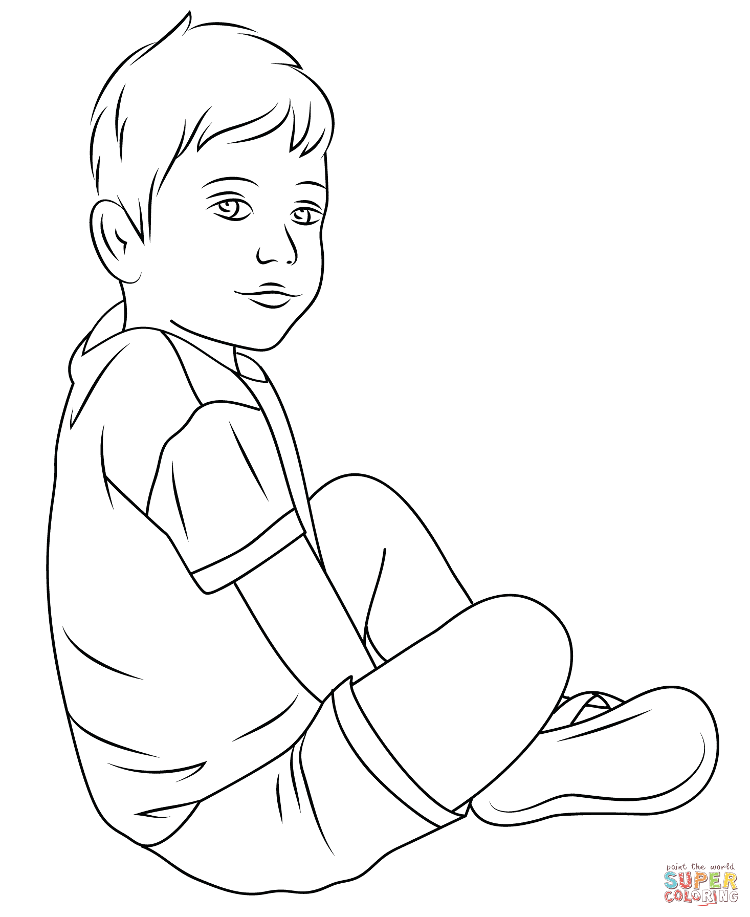 coloring page of a child coloring home