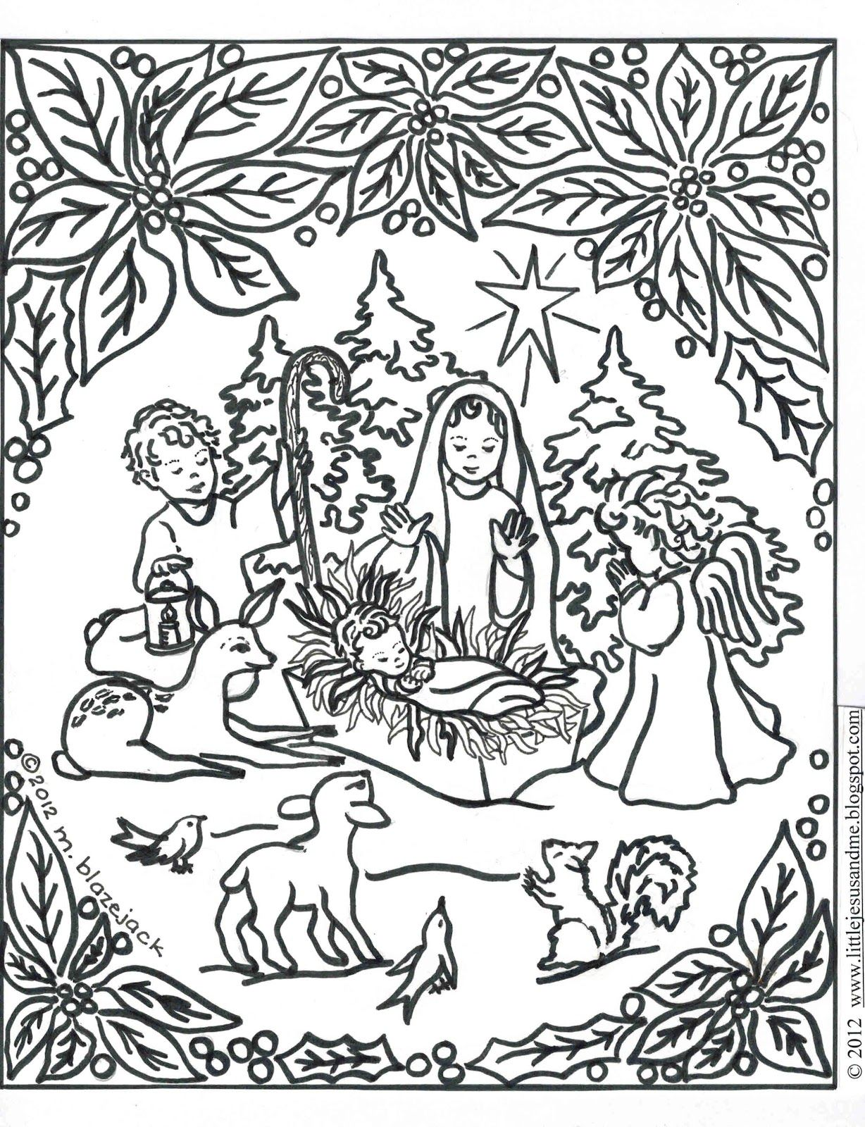 Woodland animal coloring page coloring home for Nativity animals coloring pages