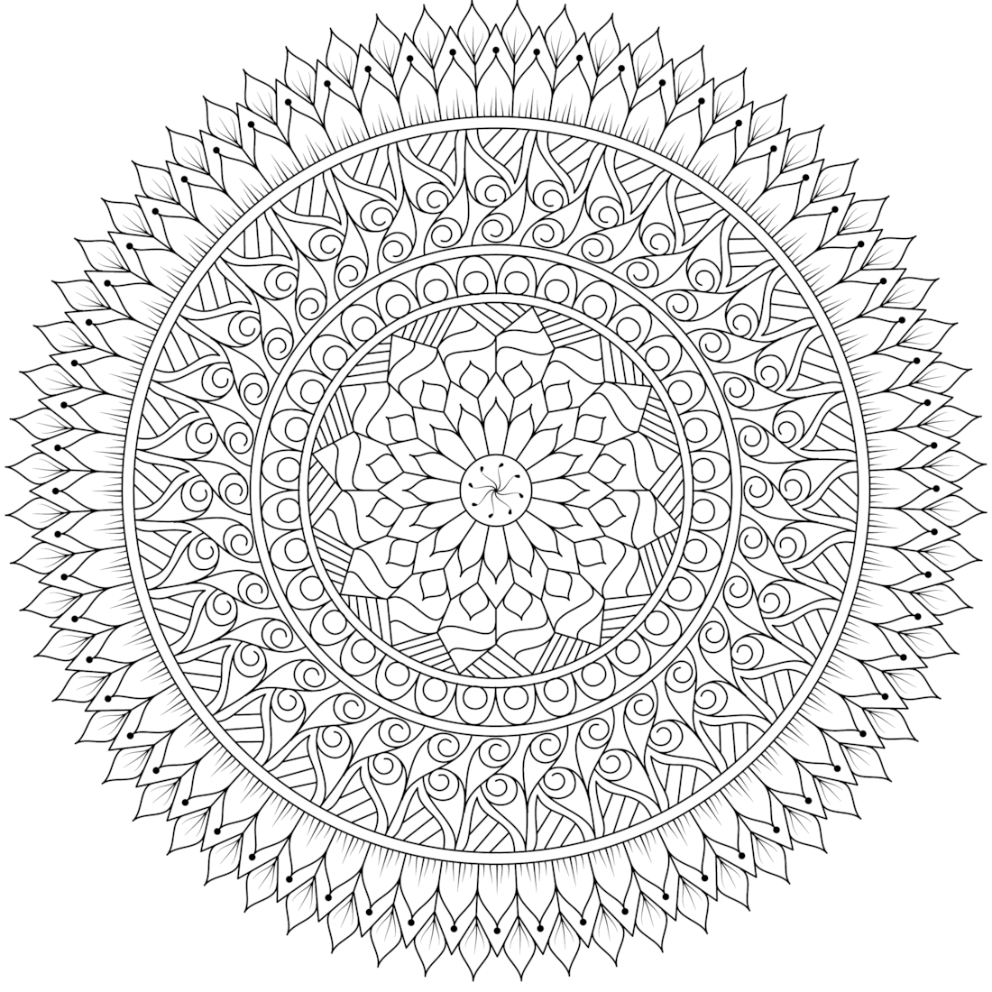 Detailed Mandala Coloring Page For Adults