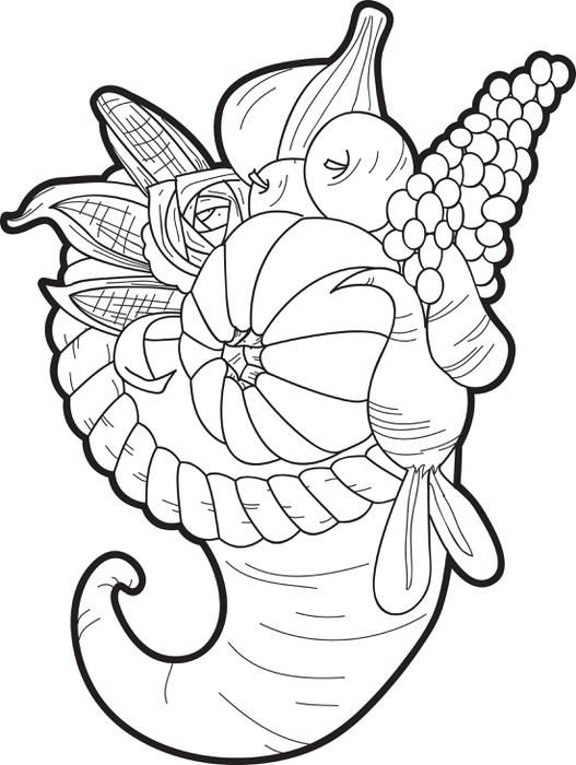 Cornucopia coloring page coloring home for Cornucopia printable coloring pages