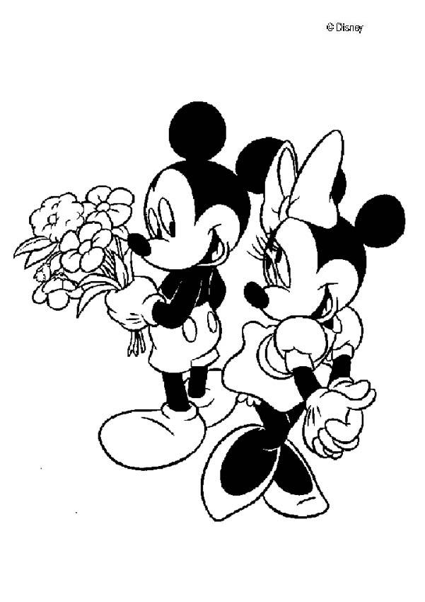 Mickey Mouse coloring pages - Mickey Mouse and Minnie Mouse in love
