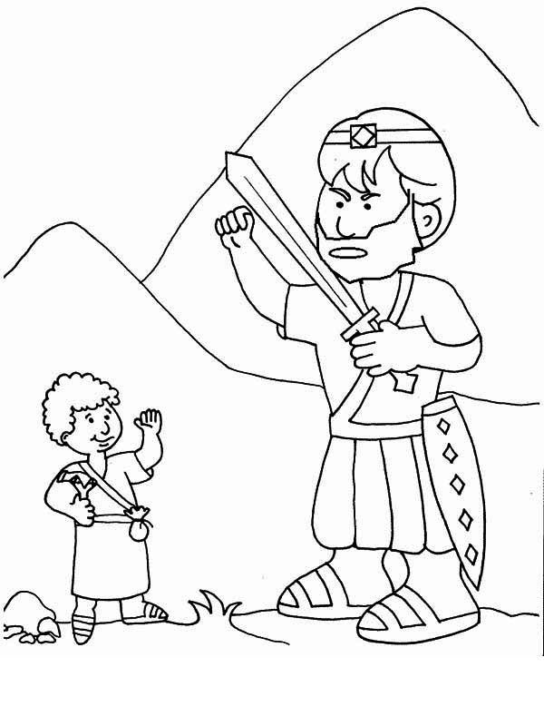 David and goliath coloring pages printables sketch for David and goliath coloring pages for preschoolers