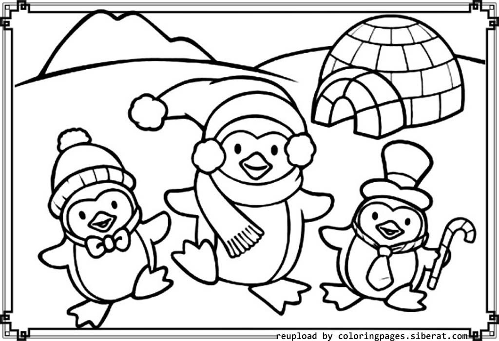 Cute Penguins Coloring Pages