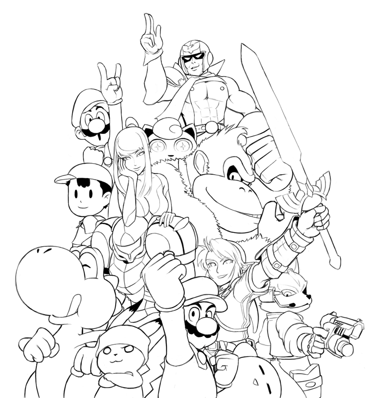 Smash Bros - Coloring Pages for Kids and for Adults