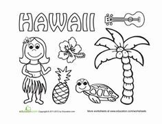 hawaiian themed coloring pages coloring home