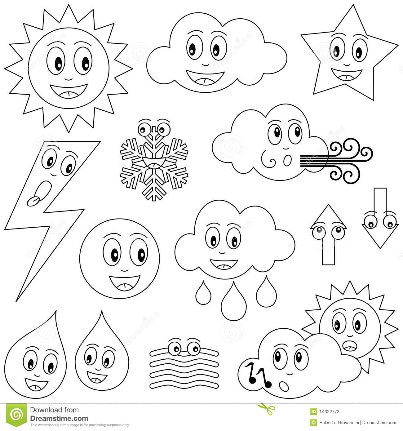 Weather Coloring Pages - Classroom Doodles | 1390x1300