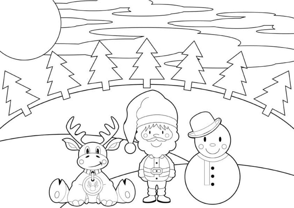 printable cartoon reindeer christmas coloring pages