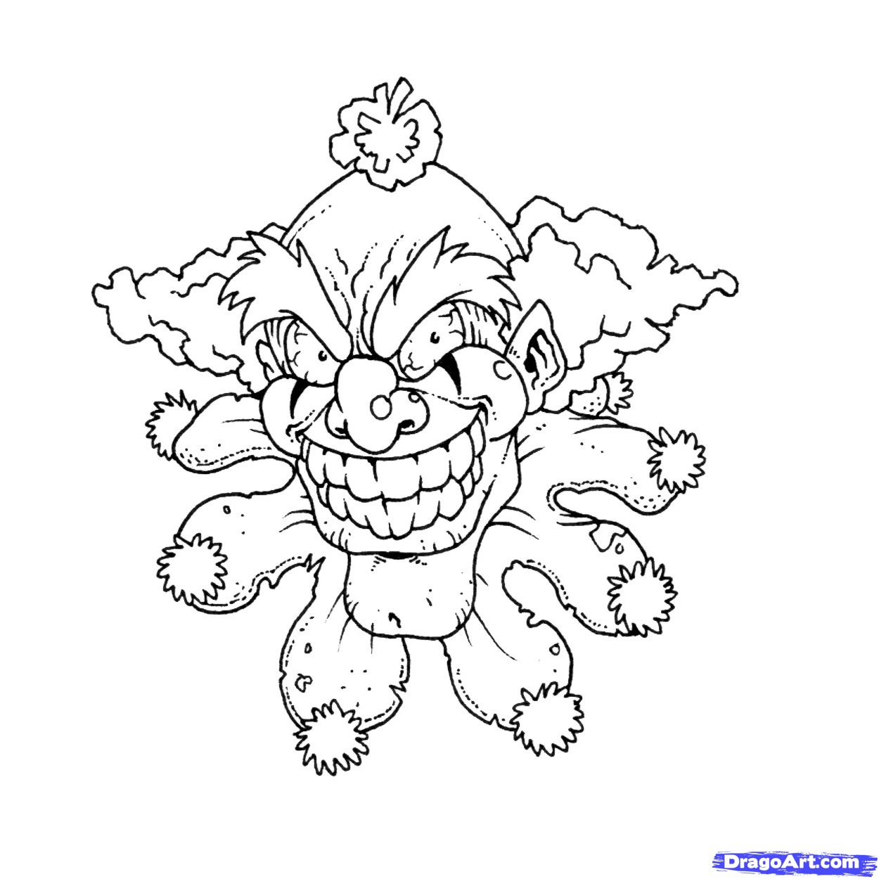 evil clown halloween coloring pages - photo#13