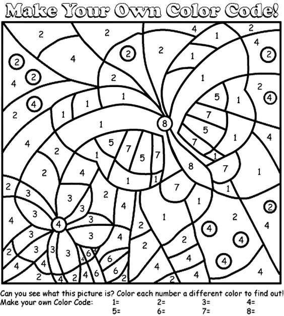 butterfly color by number coloring page