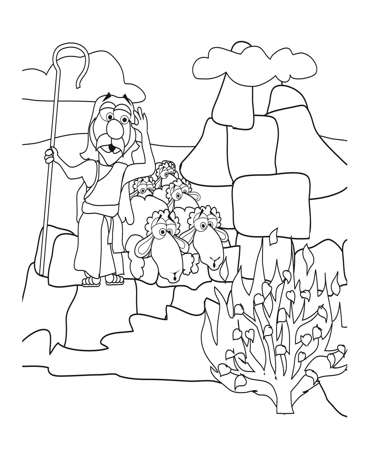 Coloring Pages Moses And The Burning Bush Coloring Pages moses and burning bush coloring page az pages the exodus pages