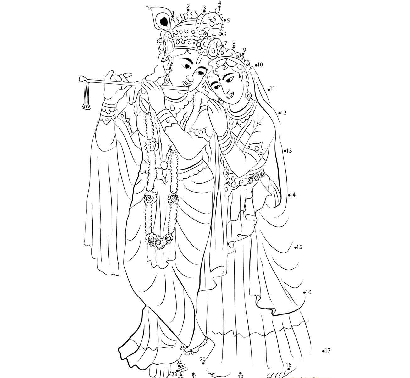krishna pages for coloring - photo#34