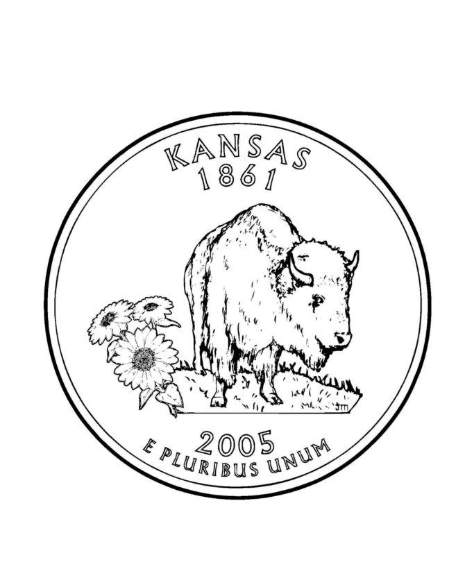 Kansas State Seal Coloring Page