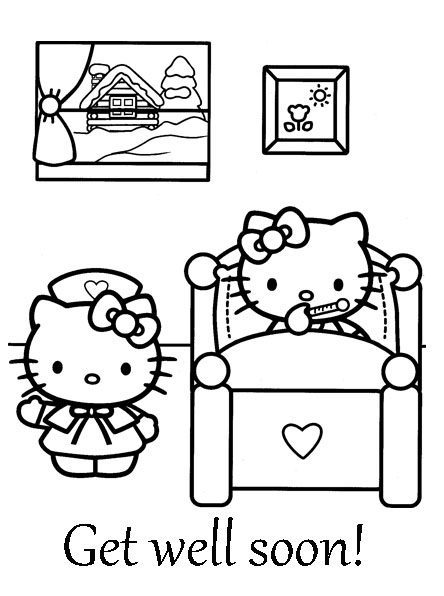 Images for hello kitty get well soon card for Get well soon card coloring pages