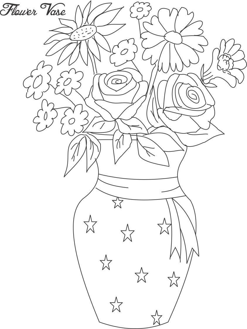 Flowers In Pots, Flower Coloring Pages Of His Flower Pot Coloring ...
