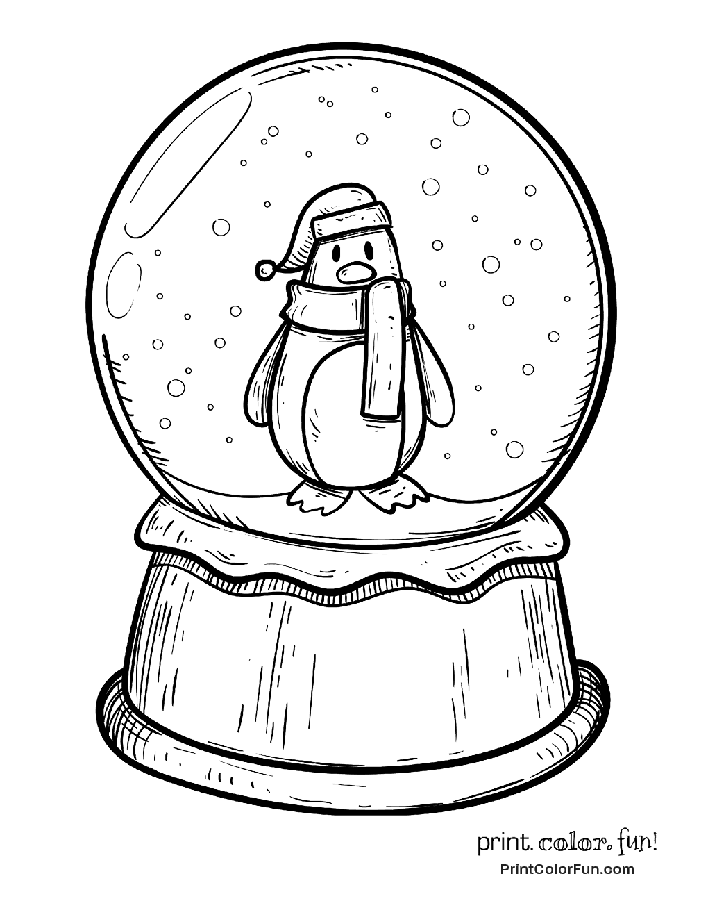 Winter snow globe with a penguin coloring page - Print. Color. Fun!