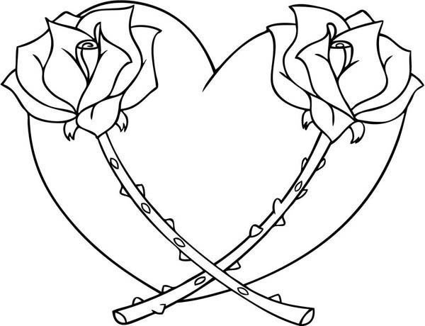 Hearts And Roses Coloring Pages Home